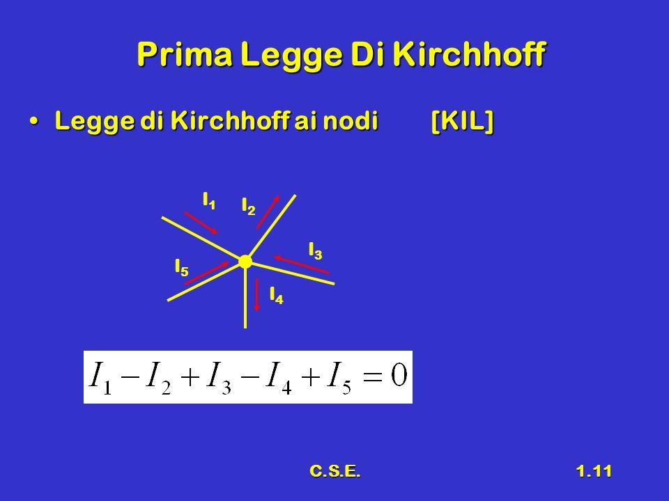 C.S.E.1.11 Prima Legge Di Kirchhoff Legge di Kirchhoff ai nodi[KIL]Legge di Kirchhoff ai nodi[KIL] I1I1 I2I2 I3I3 I4I4 I5I5