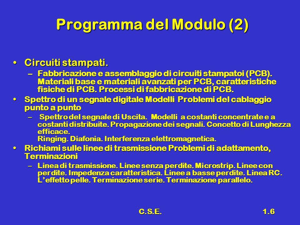 C.S.E.1.6 Programma del Modulo (2) Circuiti stampati.Circuiti stampati. –Fabbricazione e assemblaggio di circuiti stampatoi (PCB). Materiali base e ma
