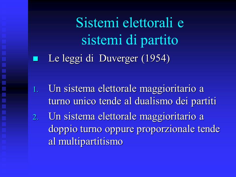 Sistemi elettorali e sistemi di partito La critica di Sartori (1984 e 1995) La critica di Sartori (1984 e 1995) Il problema di come si contano i partiti 1.