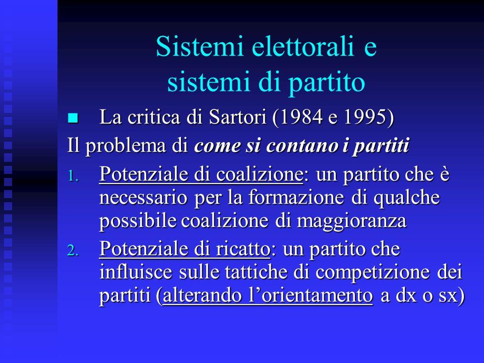 Sistemi elettorali proporzionali Sistemi proporzionali e effetti proporzionali Sistemi proporzionali e effetti proporzionali Riduzione della frammentazione Riduzione della frammentazione 1.