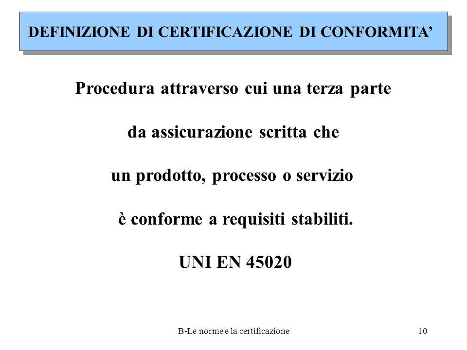 B-Le norme e la certificazione10 DEFINIZIONE DI CERTIFICAZIONE DI CONFORMITA' Procedura attraverso cui una terza parte da assicurazione scritta che un prodotto, processo o servizio è conforme a requisiti stabiliti.