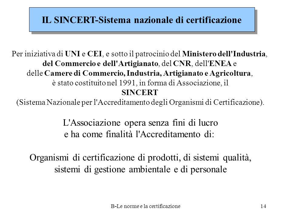 B-Le norme e la certificazione14 IL SINCERT-Sistema nazionale di certificazione Per iniziativa di UNI e CEI, e sotto il patrocinio del Ministero dell Industria, del Commercio e dell Artigianato, del CNR, dell ENEA e delle Camere di Commercio, Industria, Artigianato e Agricoltura, è stato costituito nel 1991, in forma di Associazione, il SINCERT (Sistema Nazionale per l Accreditamento degli Organismi di Certificazione).