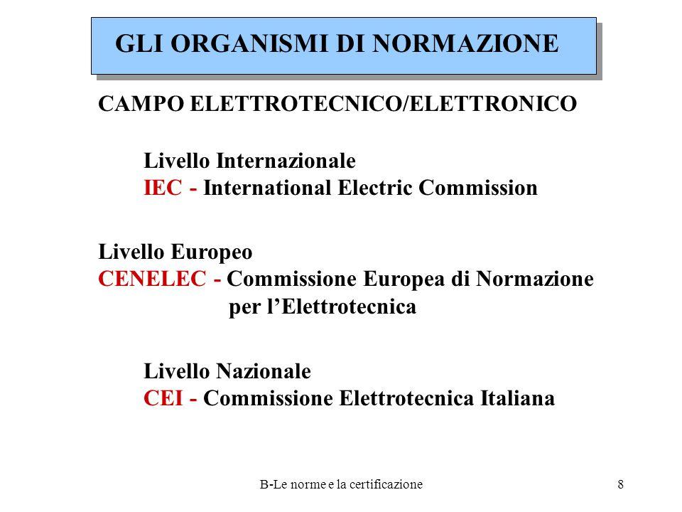 B-Le norme e la certificazione8 Livello Internazionale IEC - International Electric Commission Livello Europeo CENELEC - Commissione Europea di Normazione per l'Elettrotecnica Livello Nazionale CEI - Commissione Elettrotecnica Italiana CAMPO ELETTROTECNICO/ELETTRONICO GLI ORGANISMI DI NORMAZIONE