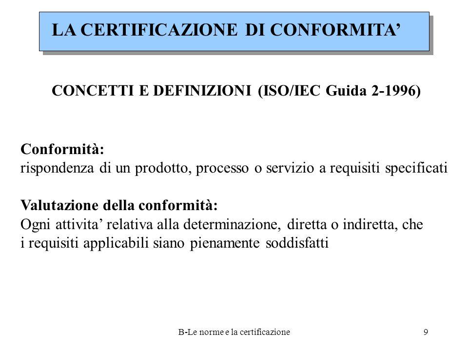 B-Le norme e la certificazione9 LA CERTIFICAZIONE DI CONFORMITA' CONCETTI E DEFINIZIONI (ISO/IEC Guida 2-1996) Conformità: rispondenza di un prodotto, processo o servizio a requisiti specificati Valutazione della conformità: Ogni attivita' relativa alla determinazione, diretta o indiretta, che i requisiti applicabili siano pienamente soddisfatti