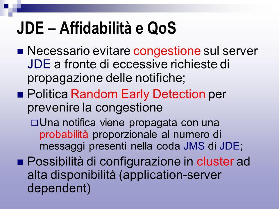JDE – Affidabilità e QoS Necessario evitare congestione sul server JDE a fronte di eccessive richieste di propagazione delle notifiche; Politica Random Early Detection per prevenire la congestione  Una notifica viene propagata con una probabilità proporzionale al numero di messaggi presenti nella coda JMS di JDE; Possibilità di configurazione in cluster ad alta disponibilità (application-server dependent)