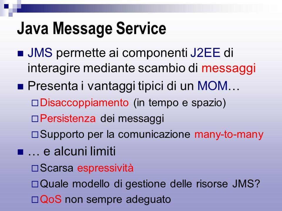 Java Message Service JMS permette ai componenti J2EE di interagire mediante scambio di messaggi Presenta i vantaggi tipici di un MOM…  Disaccoppiamento (in tempo e spazio)  Persistenza dei messaggi  Supporto per la comunicazione many-to-many … e alcuni limiti  Scarsa espressività  Quale modello di gestione delle risorse JMS.