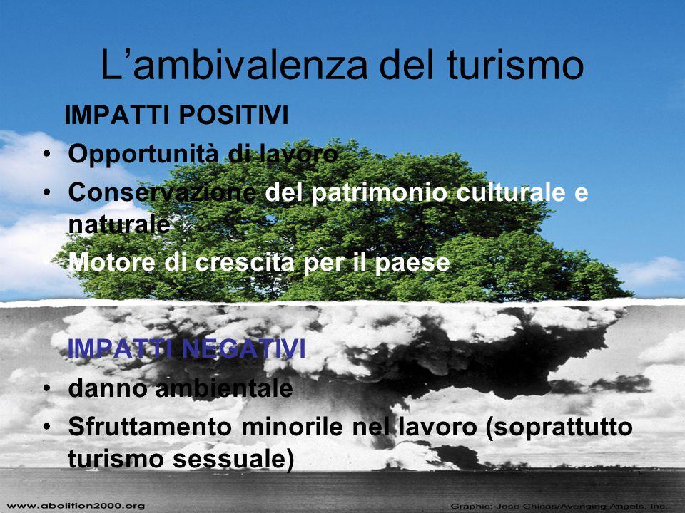 IMPATTI POSITIVI Opportunità di lavoro Conservazione del patrimonio culturale e naturale Motore di crescita per il paese IMPATTI NEGATIVI danno ambien