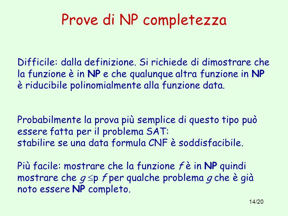 14/20 Prove di NP completezza Difficile: dalla definizione.