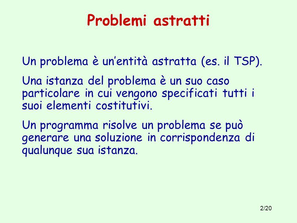 2/20 Problemi astratti Un problema è un'entità astratta (es.