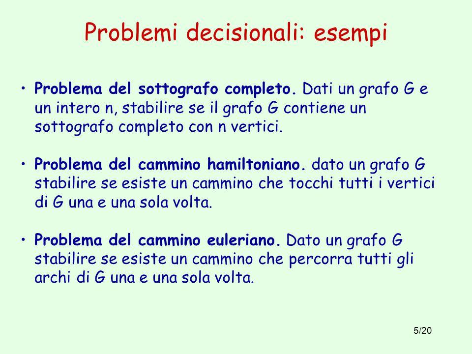 5/20 Problemi decisionali: esempi Problema del sottografo completo.