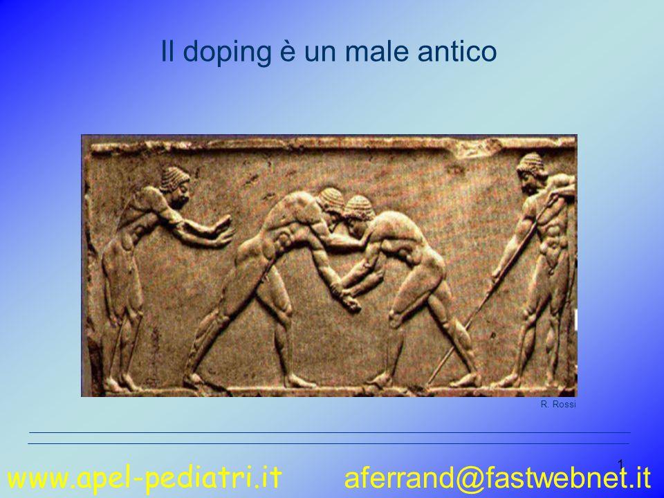 www.apel-pediatri.it aferrand@fastwebnet.it 2 Dai Greci….ai Romani Il doping non è una scoperta della società moderna Gli antichi lottatori greci (III secolo a.C.) assumevano una sostanza estratta da un fungo per aumentare l aggressività R.