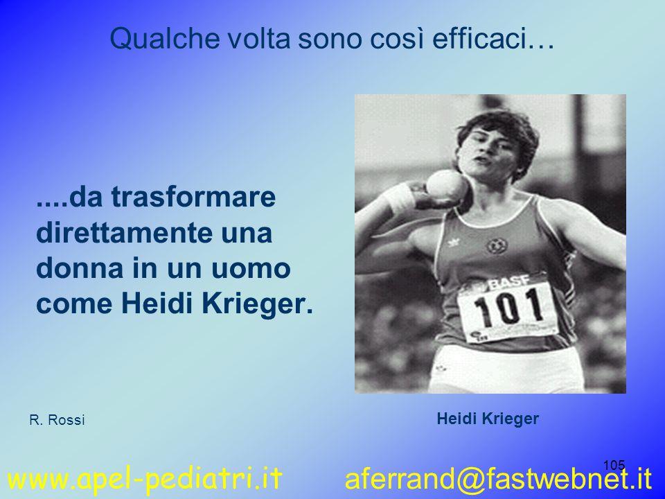 www.apel-pediatri.it aferrand@fastwebnet.it 105 Qualche volta sono così efficaci…....da trasformare direttamente una donna in un uomo come Heidi Krieger.