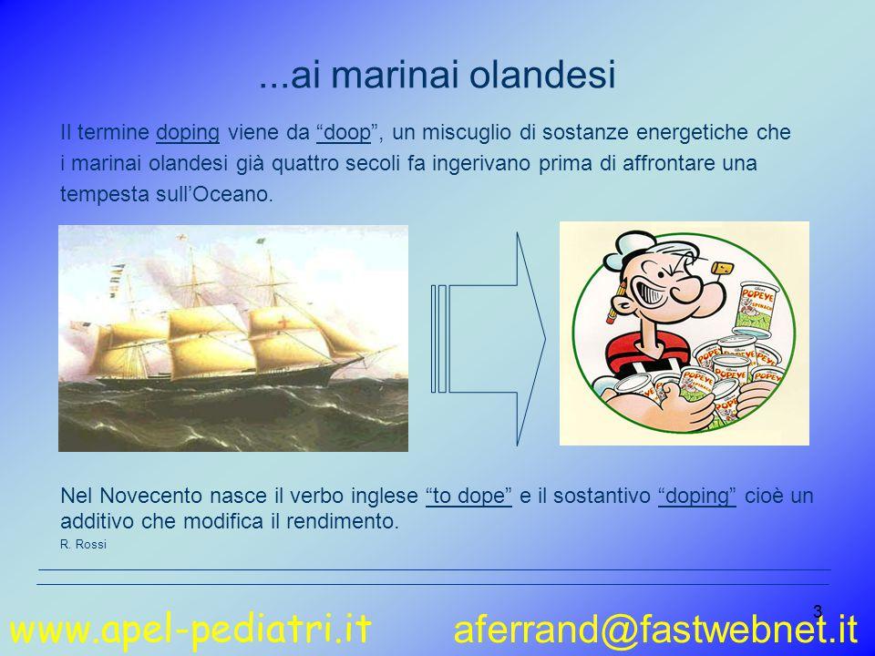 www.apel-pediatri.it aferrand@fastwebnet.it 24 L'alimentazione dello sportivo Elisabetta Sanzini Carboidrati 55-60% Lipidi 25-30% Proteine 12-15% Dieta del sedentario Dieta dello sportivo 3200 calorie 1800 calorie