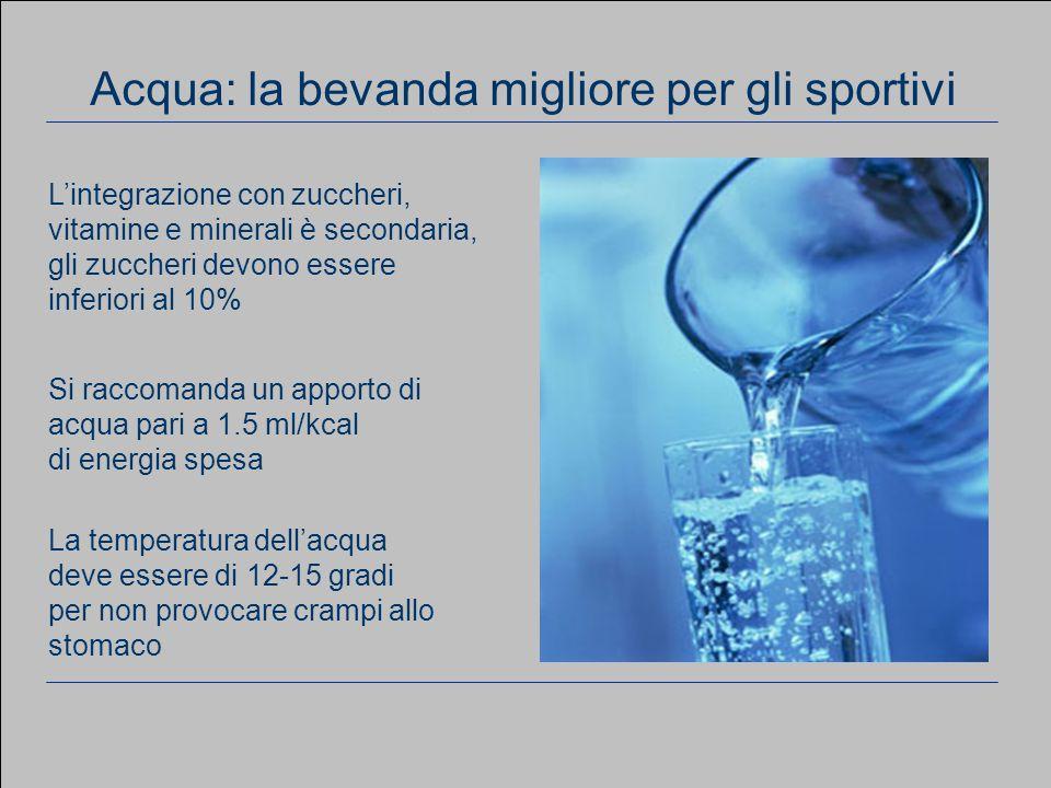 www.apel-pediatri.it aferrand@fastwebnet.it 34 Considerazioni generali Si raccomanda un apporto di acqua pari a 1.5 ml/kcal di energia spesa La temperatura dell'acqua deve essere di 12-15 gradi per non provocare crampi allo stomaco Acqua: la bevanda migliore per gli sportivi L'integrazione con zuccheri, vitamine e minerali è secondaria, gli zuccheri devono essere inferiori al 10%
