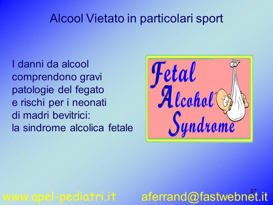 www.apel-pediatri.it aferrand@fastwebnet.it 57 I danni da alcool comprendono gravi patologie del fegato e rischi per i neonati di madri bevitrici: la sindrome alcolica fetale Alcool Vietato in particolari sport