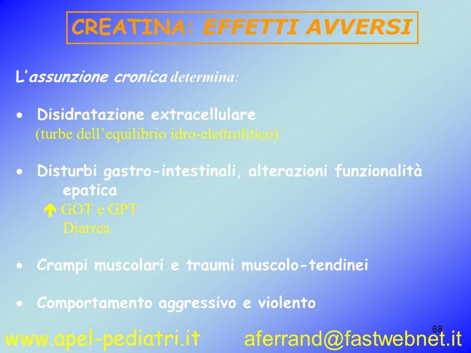 www.apel-pediatri.it aferrand@fastwebnet.it 68 L'assunzione cronica determina:  Disidratazione extracellulare (turbe dell'equilibrio idro-elettrolitico)  Disturbi gastro-intestinali, alterazioni funzionalità epatica  GOT e GPT Diarrea  Crampi muscolari e traumi muscolo-tendinei  Comportamento aggressivo e violento CREATINA: EFFETTI AVVERSI
