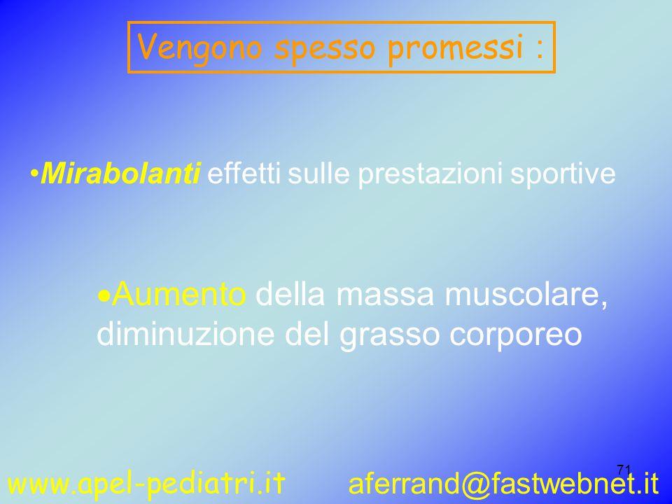 www.apel-pediatri.it aferrand@fastwebnet.it 71  Aumento della massa muscolare, diminuzione del grasso corporeo Vengono spesso promessi : Mirabolanti effetti sulle prestazioni sportive
