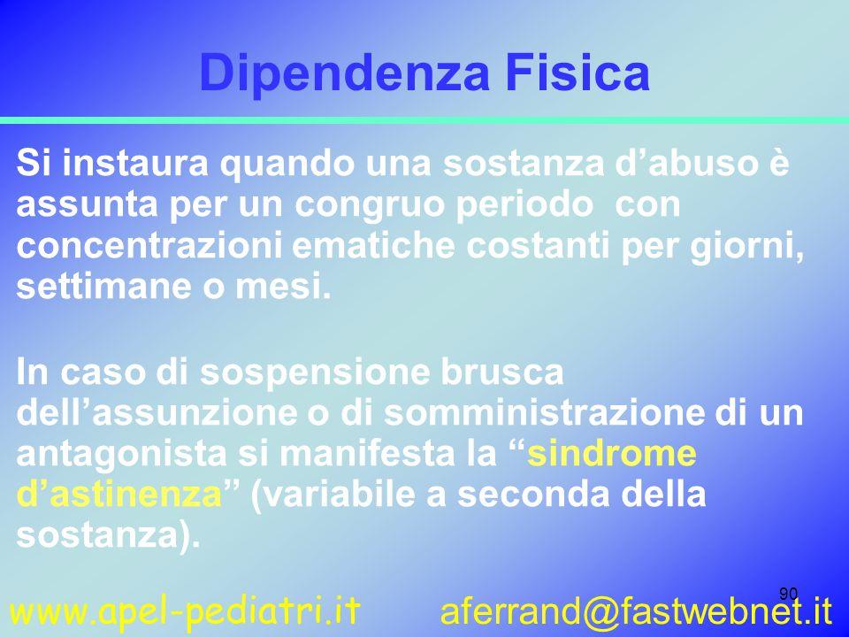 www.apel-pediatri.it aferrand@fastwebnet.it 90 Dipendenza Fisica Si instaura quando una sostanza d'abuso è assunta per un congruo periodo con concentrazioni ematiche costanti per giorni, settimane o mesi.