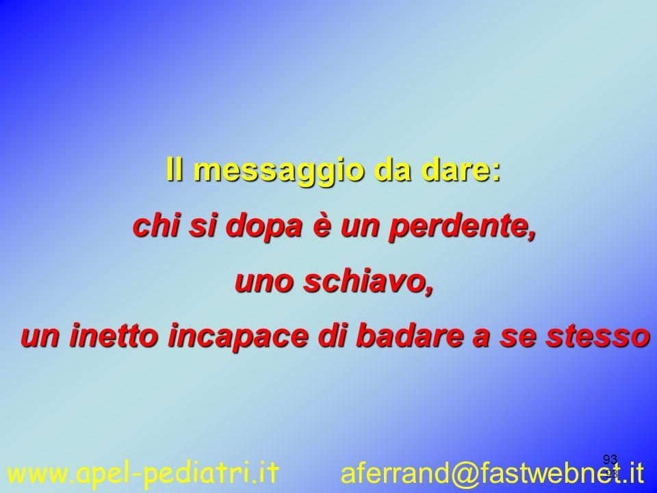www.apel-pediatri.it aferrand@fastwebnet.it 93 Il messaggio da dare: chi si dopa è un perdente, uno schiavo, un inetto incapace di badare a se stesso