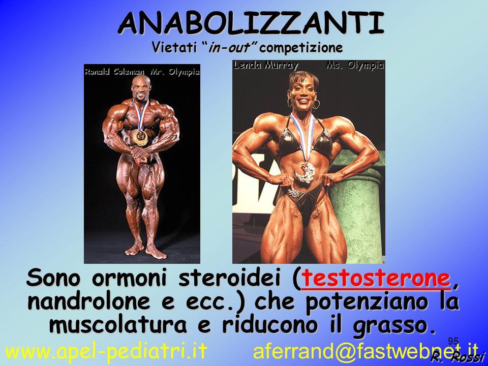 www.apel-pediatri.it aferrand@fastwebnet.it 95 ANABOLIZZANTI ANABOLIZZANTI Sono ormoni steroidei (testosterone, nandrolone e ecc.) che potenziano la muscolatura e riducono il grasso.