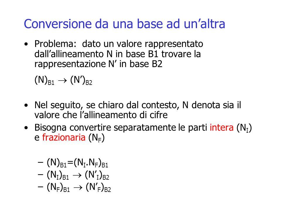 Conversione da una base ad un'altra Problema: dato un valore rappresentato dall'allineamento N in base B1 trovare la rappresentazione N' in base B2 (N) B1  (N') B2 Nel seguito, se chiaro dal contesto, N denota sia il valore che l'allineamento di cifre Bisogna convertire separatamente le parti intera (N I ) e frazionaria (N F ) –(N) B1 =(N I.N F ) B1 –(N I ) B1  (N' I ) B2 –(N F ) B1  (N' F ) B2