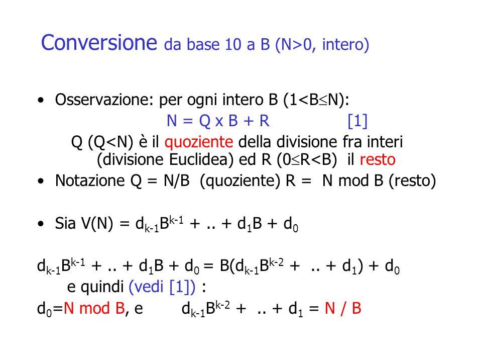 Conversione da base 10 a B (N>0, intero) Osservazione: per ogni intero B (1<B  N): N = Q x B + R[1] Q (Q<N) è il quoziente della divisione fra interi (divisione Euclidea) ed R (0  R<B) il resto Notazione Q = N/B (quoziente) R = N mod B (resto) Sia V(N) = d k-1 B k-1 +..