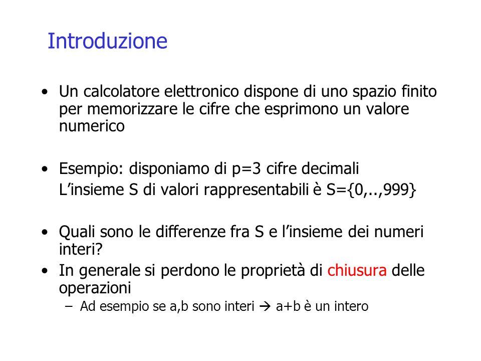Introduzione Un calcolatore elettronico dispone di uno spazio finito per memorizzare le cifre che esprimono un valore numerico Esempio: disponiamo di p=3 cifre decimali L'insieme S di valori rappresentabili è S={0,..,999} Quali sono le differenze fra S e l'insieme dei numeri interi.