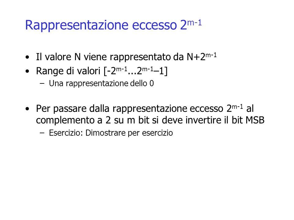 Rappresentazione eccesso 2 m-1 Il valore N viene rappresentato da N+2 m-1 Range di valori [-2 m-1...2 m-1 –1] –Una rappresentazione dello 0 Per passare dalla rappresentazione eccesso 2 m-1 al complemento a 2 su m bit si deve invertire il bit MSB –Esercizio: Dimostrare per esercizio