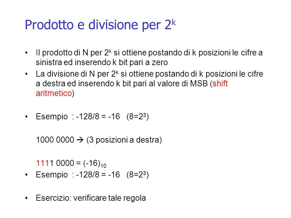Prodotto e divisione per 2 k Il prodotto di N per 2 k si ottiene postando di k posizioni le cifre a sinistra ed inserendo k bit pari a zero La divisione di N per 2 k si ottiene postando di k posizioni le cifre a destra ed inserendo k bit pari al valore di MSB (shift aritmetico) Esempio : -128/8 = -16 (8=2 3 ) 1000 0000  (3 posizioni a destra) 1111 0000 = (-16) 10 Esempio : -128/8 = -16 (8=2 3 ) Esercizio: verificare tale regola
