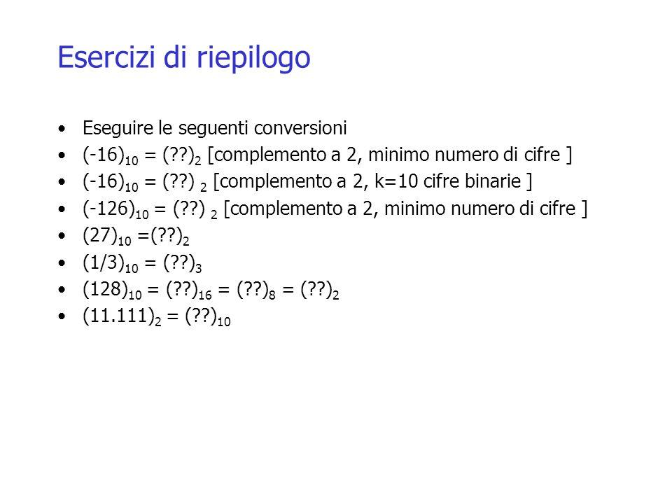 Esercizi di riepilogo Eseguire le seguenti conversioni (-16) 10 = (??) 2 [complemento a 2, minimo numero di cifre ] (-16) 10 = (??) 2 [complemento a 2, k=10 cifre binarie ] (-126) 10 = (??) 2 [complemento a 2, minimo numero di cifre ] (27) 10 =(??) 2 (1/3) 10 = (??) 3 (128) 10 = (??) 16 = (??) 8 = (??) 2 (11.111) 2 = (??) 10