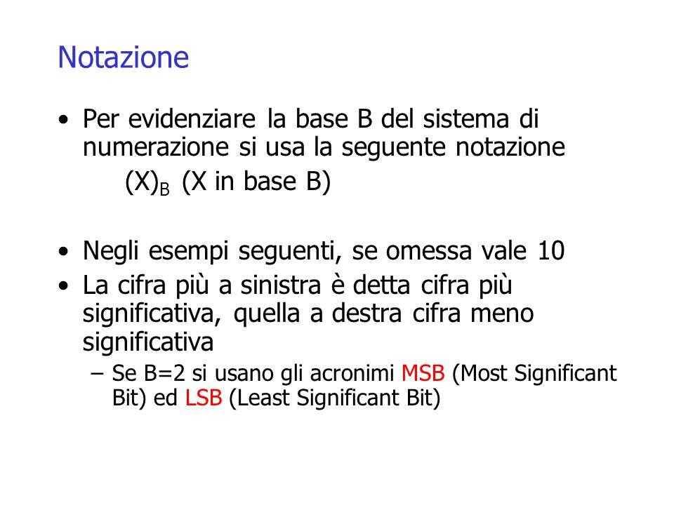 Notazione Per evidenziare la base B del sistema di numerazione si usa la seguente notazione (X) B (X in base B) Negli esempi seguenti, se omessa vale 10 La cifra più a sinistra è detta cifra più significativa, quella a destra cifra meno significativa –Se B=2 si usano gli acronimi MSB (Most Significant Bit) ed LSB (Least Significant Bit)