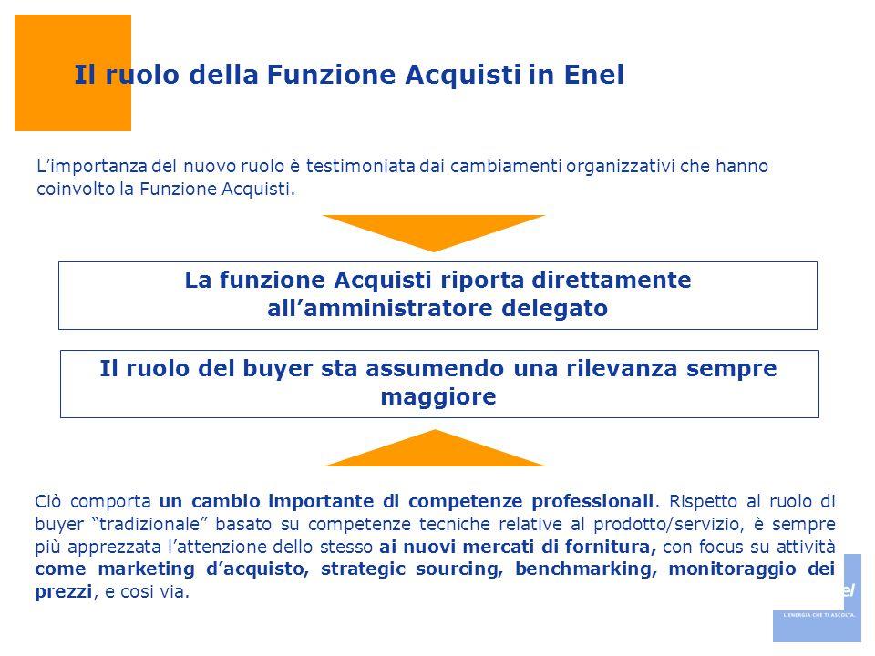 """Il ruolo della Funzione Acquisti in Enel Ciò comporta un cambio importante di competenze professionali. Rispetto al ruolo di buyer """"tradizionale"""" basa"""