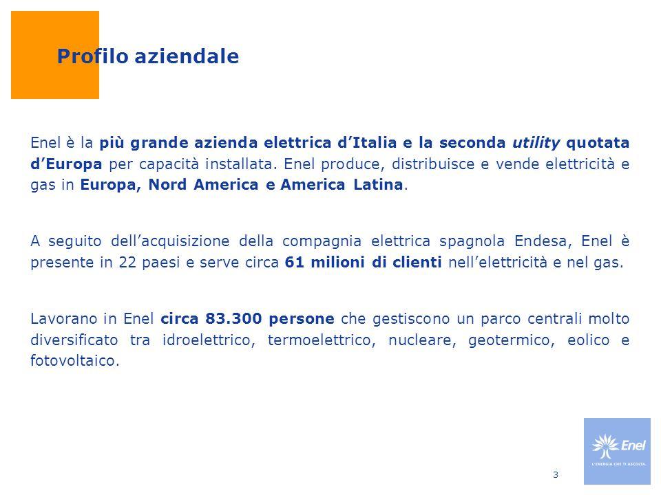 3 Profilo aziendale Enel è la più grande azienda elettrica d'Italia e la seconda utility quotata d'Europa per capacità installata. Enel produce, distr
