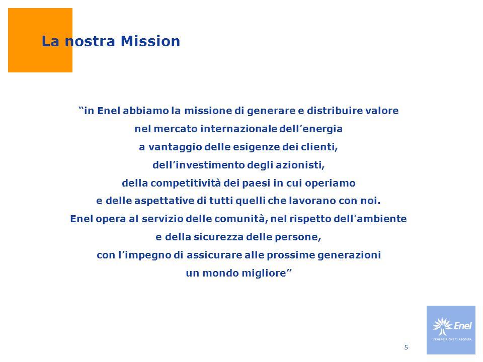 """5 La nostra Mission """"in Enel abbiamo la missione di generare e distribuire valore nel mercato internazionale dell'energia a vantaggio delle esigenze d"""