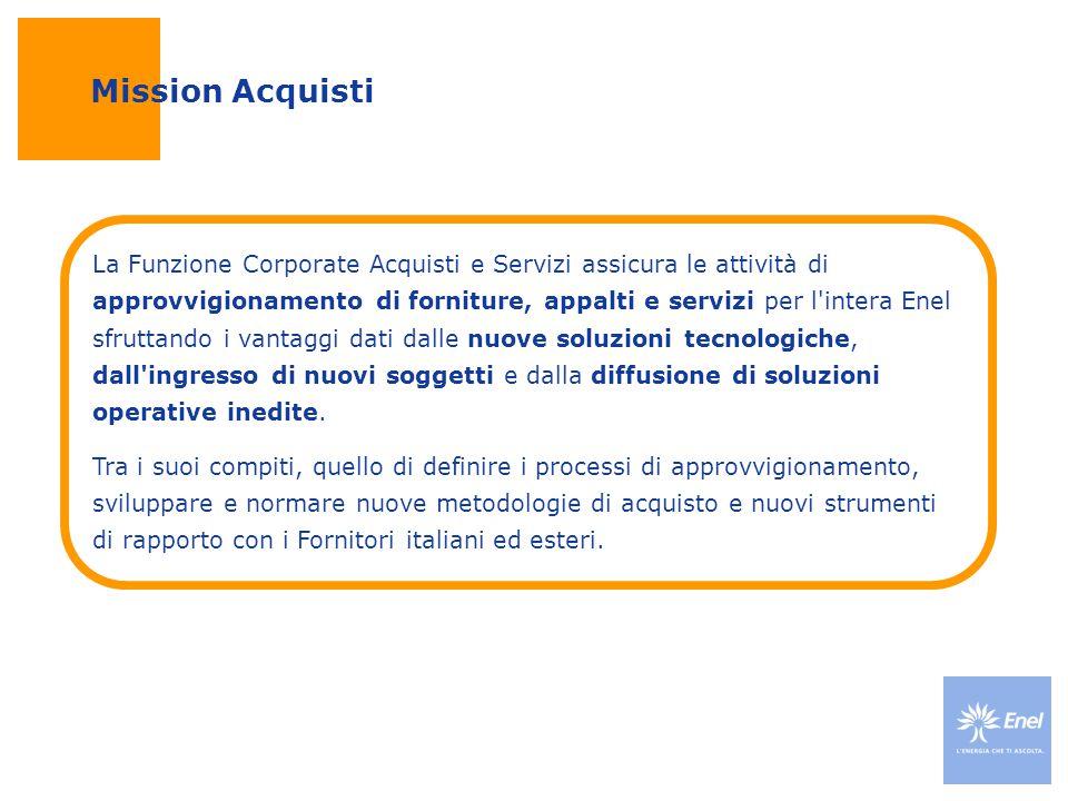 Mission Acquisti La Funzione Corporate Acquisti e Servizi assicura le attività di approvvigionamento di forniture, appalti e servizi per l'intera Enel