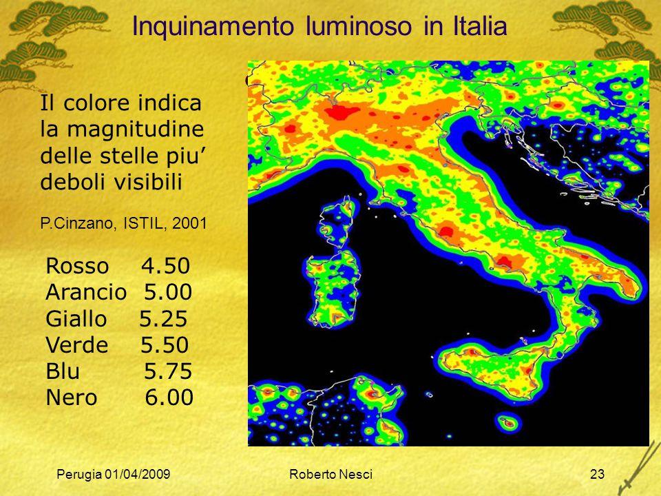 Perugia 01/04/2009Roberto Nesci23 Inquinamento luminoso in Italia  Cinzano 2001 Il colore indica la magnitudine delle stelle piu' deboli visibili P.C