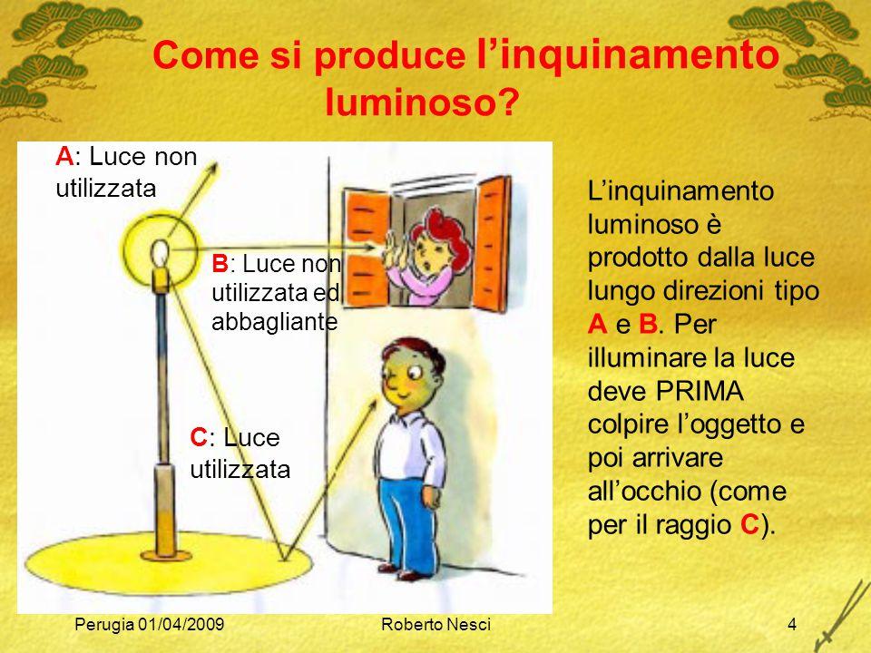 Perugia 01/04/2009Roberto Nesci4 Come si produce l'inquinamento luminoso? L'inquinamento luminoso è prodotto dalla luce lungo direzioni tipo A e B. Pe
