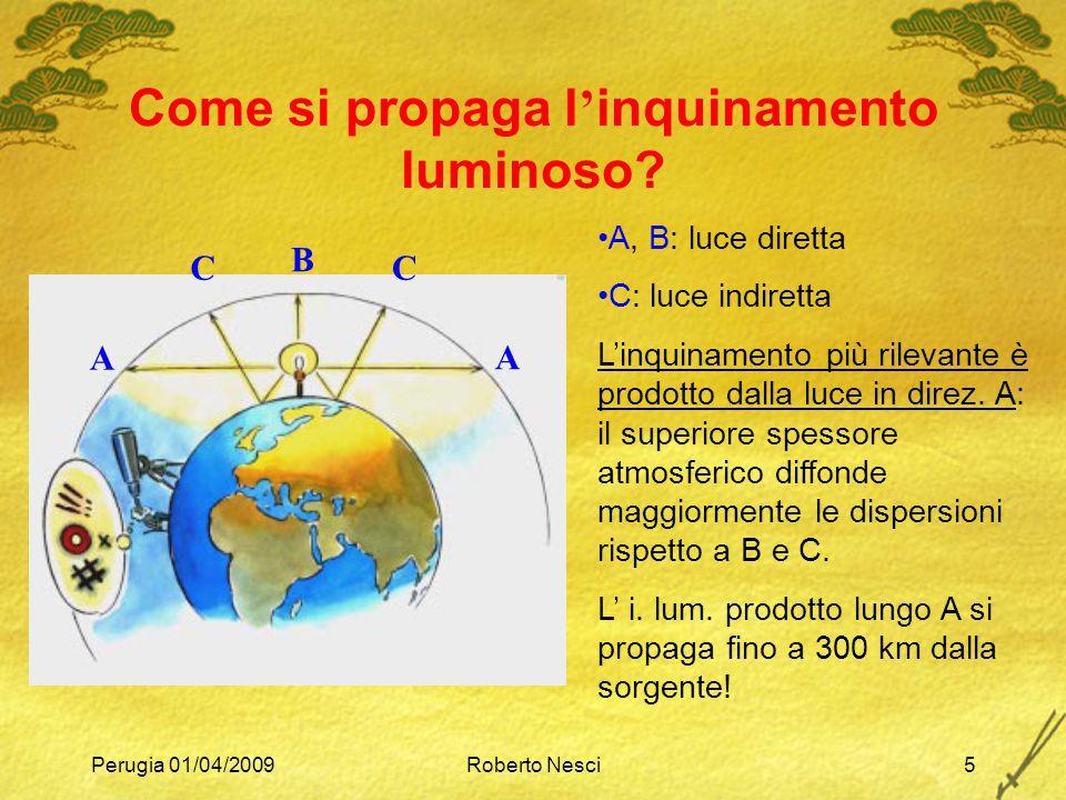 Perugia 01/04/2009Roberto Nesci5 Come si propaga l ' inquinamento luminoso? A, B: luce diretta C: luce indiretta L'inquinamento più rilevante è prodot