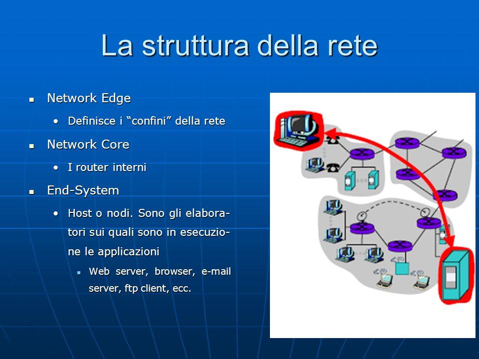 8 La struttura della rete Network Edge Network Edge Definisce i confini della reteDefinisce i confini della rete Network Core Network Core I router interniI router interni End-System End-System Host o nodi.