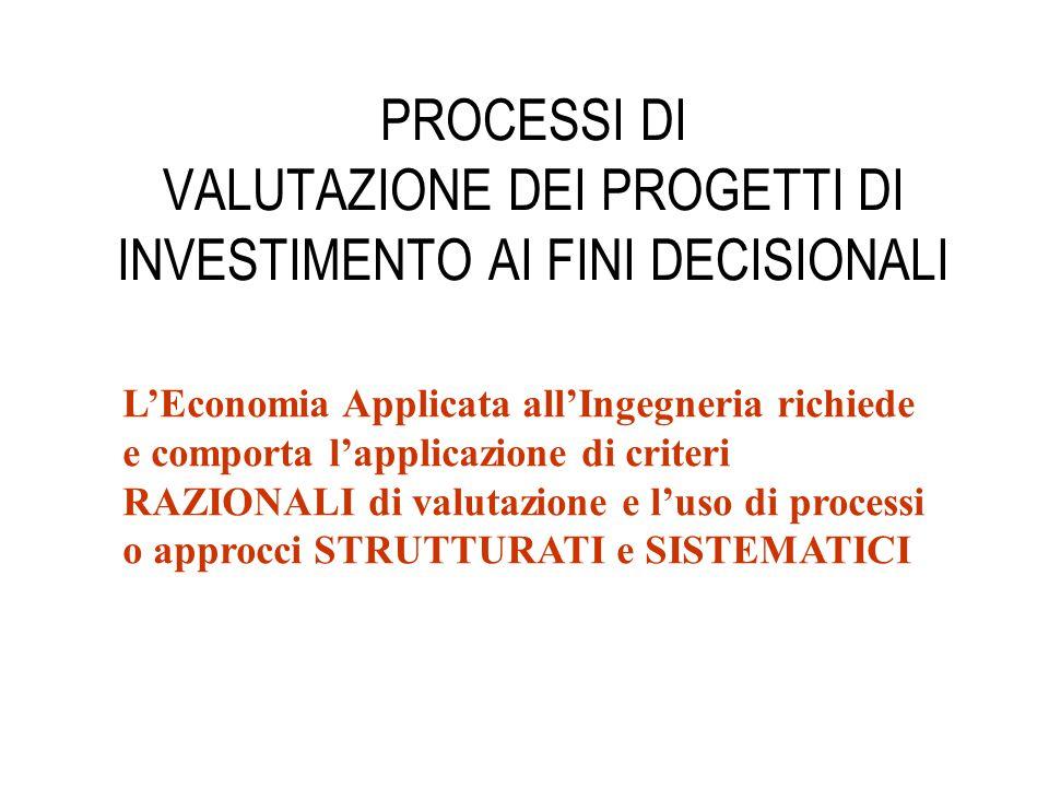 PROCESSI DI VALUTAZIONE DEI PROGETTI DI INVESTIMENTO AI FINI DECISIONALI L'Economia Applicata all'Ingegneria richiede e comporta l'applicazione di cri