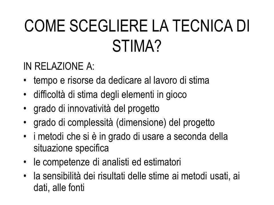 COME SCEGLIERE LA TECNICA DI STIMA.
