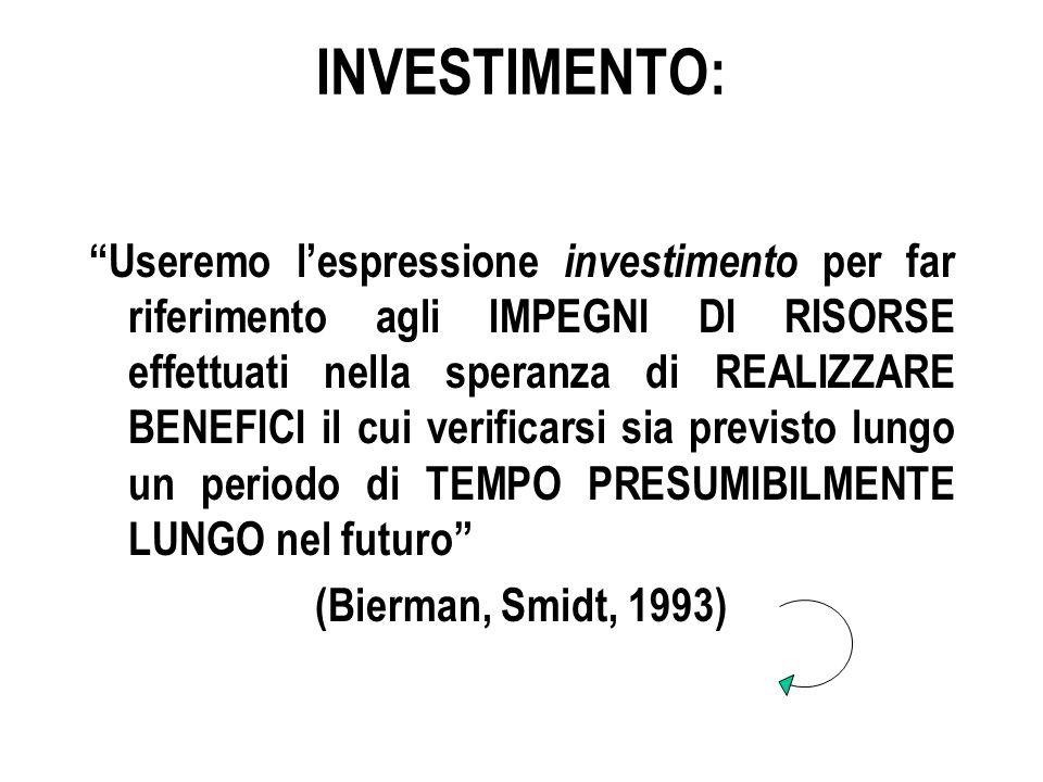 INVESTIMENTO: Useremo l'espressione investimento per far riferimento agli IMPEGNI DI RISORSE effettuati nella speranza di REALIZZARE BENEFICI il cui verificarsi sia previsto lungo un periodo di TEMPO PRESUMIBILMENTE LUNGO nel futuro (Bierman, Smidt, 1993)