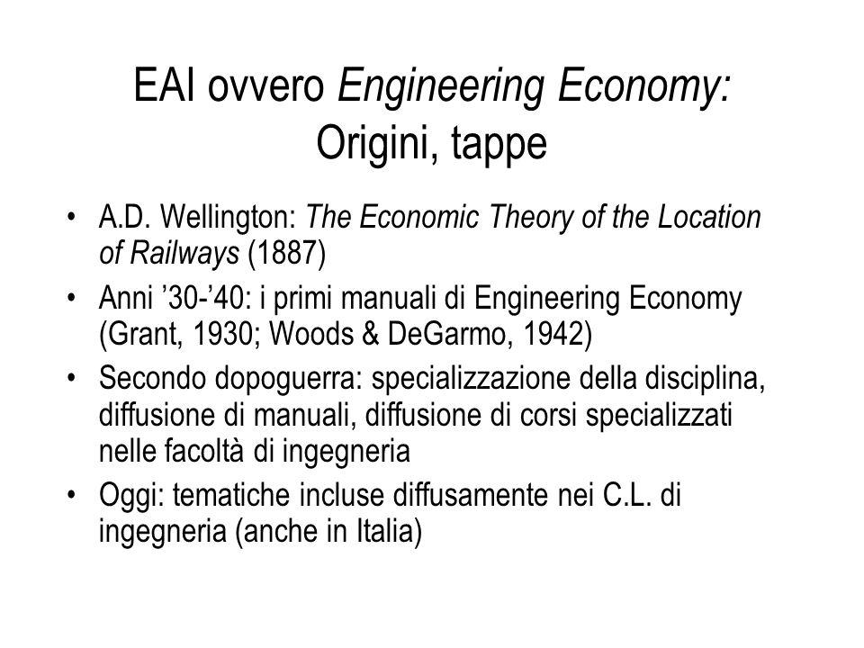 EAI ovvero Engineering Economy: Origini, tappe A.D. Wellington: The Economic Theory of the Location of Railways (1887) Anni '30-'40: i primi manuali d