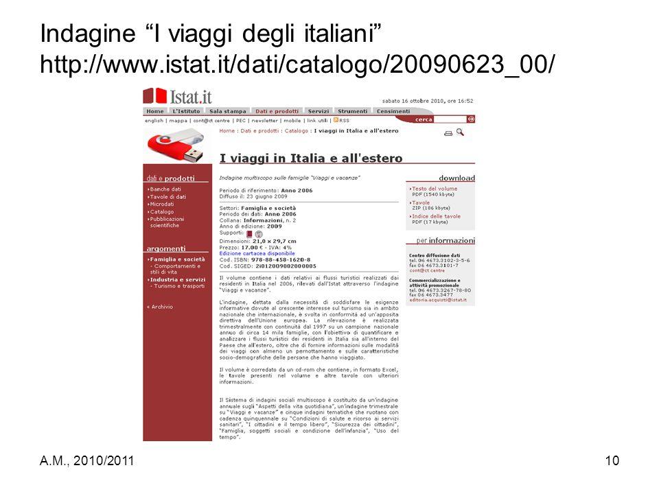"""A.M., 2010/201110 Indagine """"I viaggi degli italiani"""" http://www.istat.it/dati/catalogo/20090623_00/"""