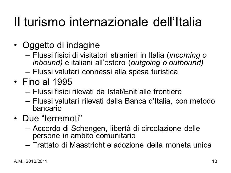 A.M., 2010/201113 Il turismo internazionale dell'Italia Oggetto di indagine –Flussi fisici di visitatori stranieri in Italia (incoming o inbound) e it