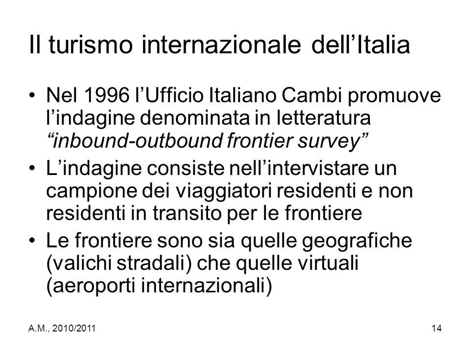 """A.M., 2010/201114 Il turismo internazionale dell'Italia Nel 1996 l'Ufficio Italiano Cambi promuove l'indagine denominata in letteratura """"inbound-outbo"""