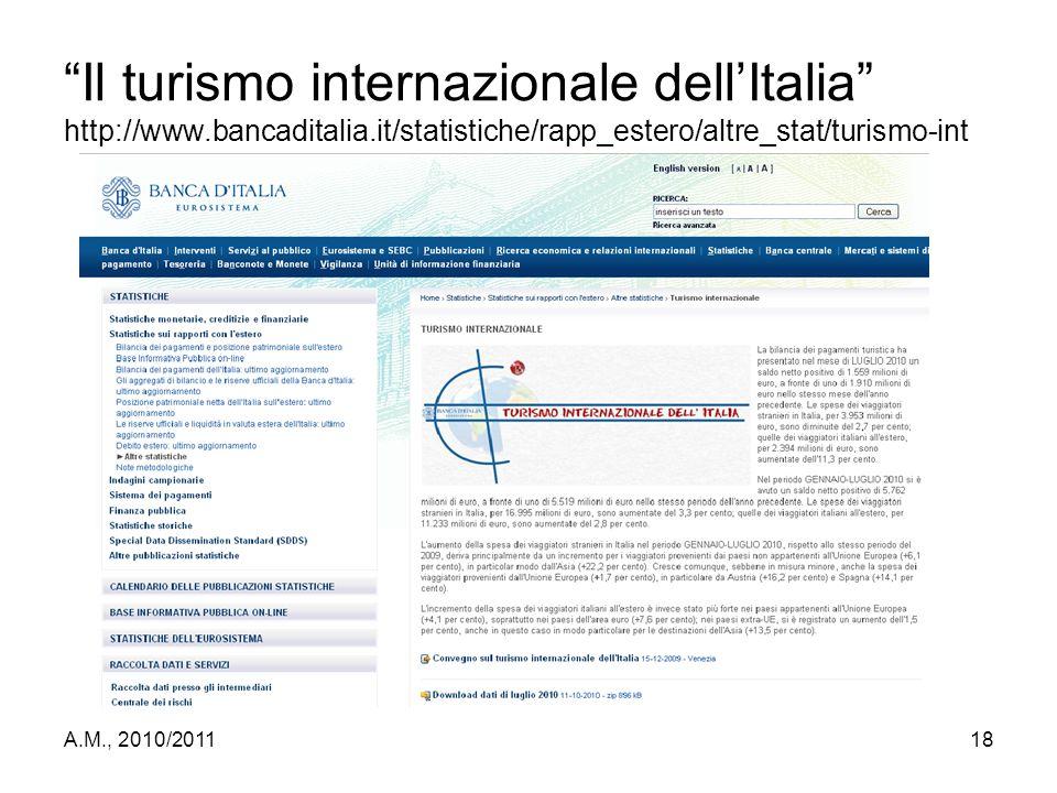 """A.M., 2010/201118 """"Il turismo internazionale dell'Italia"""" http://www.bancaditalia.it/statistiche/rapp_estero/altre_stat/turismo-int"""