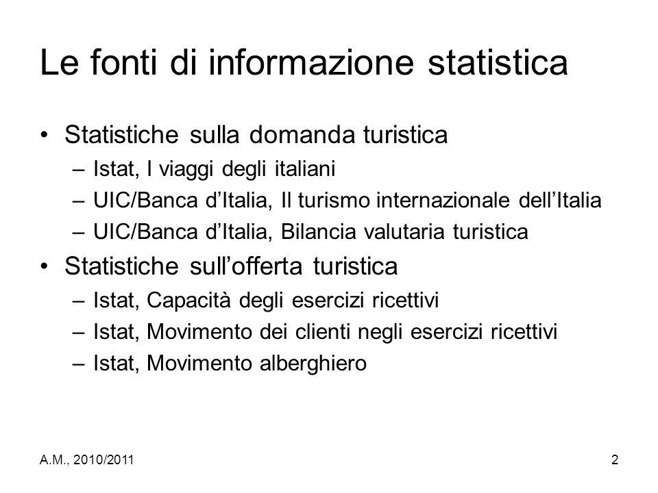 A.M., 2010/20112 Le fonti di informazione statistica Statistiche sulla domanda turistica –Istat, I viaggi degli italiani –UIC/Banca d'Italia, Il turis