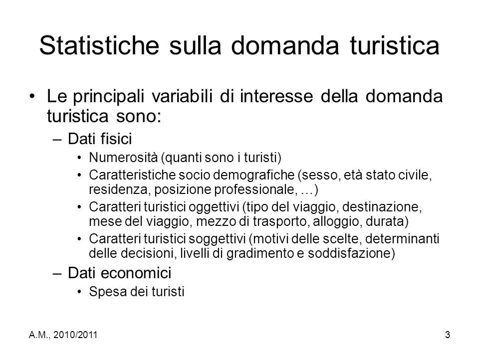 A.M., 2010/20113 Statistiche sulla domanda turistica Le principali variabili di interesse della domanda turistica sono: –Dati fisici Numerosità (quant