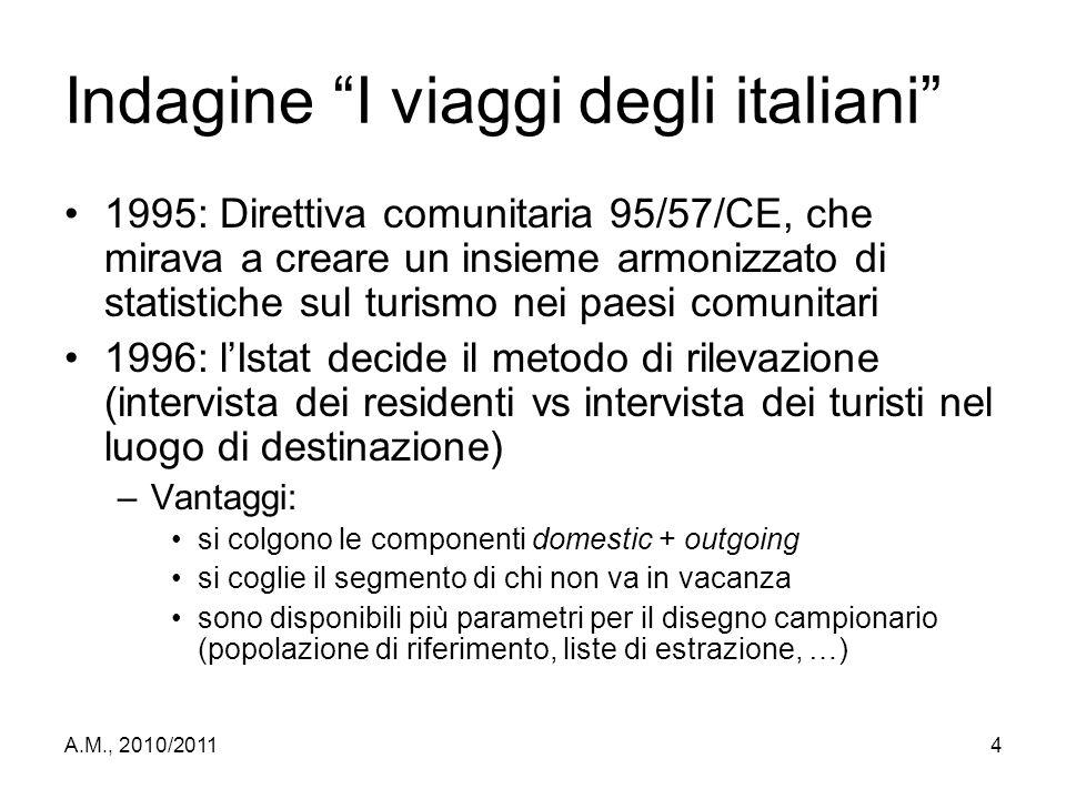"""A.M., 2010/20114 Indagine """"I viaggi degli italiani"""" 1995: Direttiva comunitaria 95/57/CE, che mirava a creare un insieme armonizzato di statistiche su"""